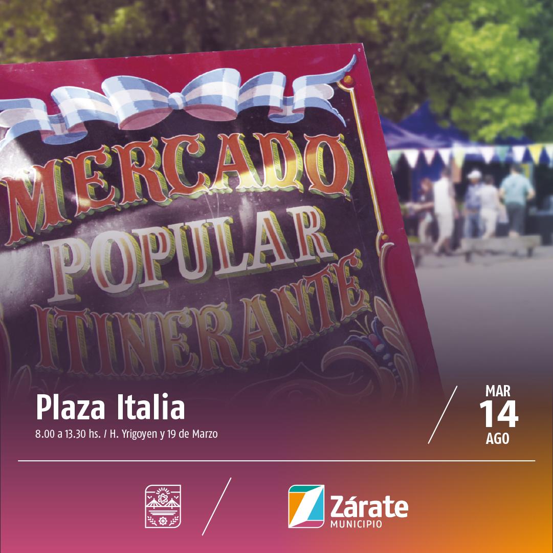 Mañana se realiza elMercadoPopularItineranteen Plaza Italia