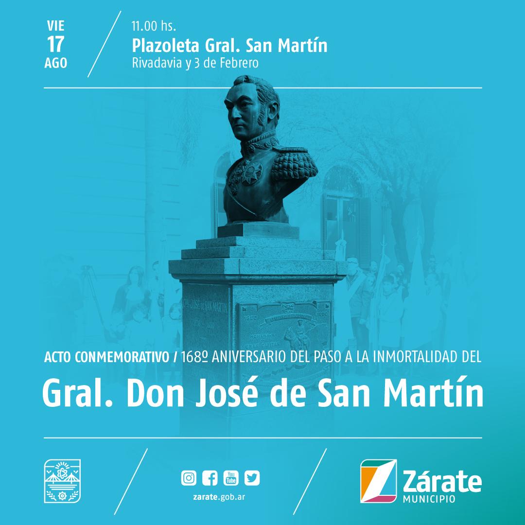Municipio conmemora el 168º Aniversario del fallecimiento del General San Martín