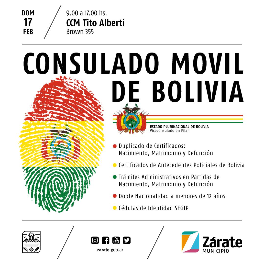 El domingo llega a Zárate elConsuladoMóvilde Bolivia