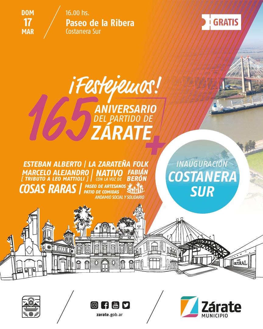 En el 165° Aniversario de Zárate, el Municipio inaugura la Costanera Sur