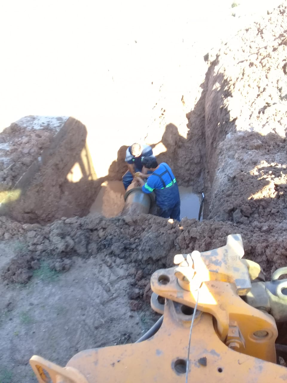 Reparación exitosa en la cañería de impulsión de agua