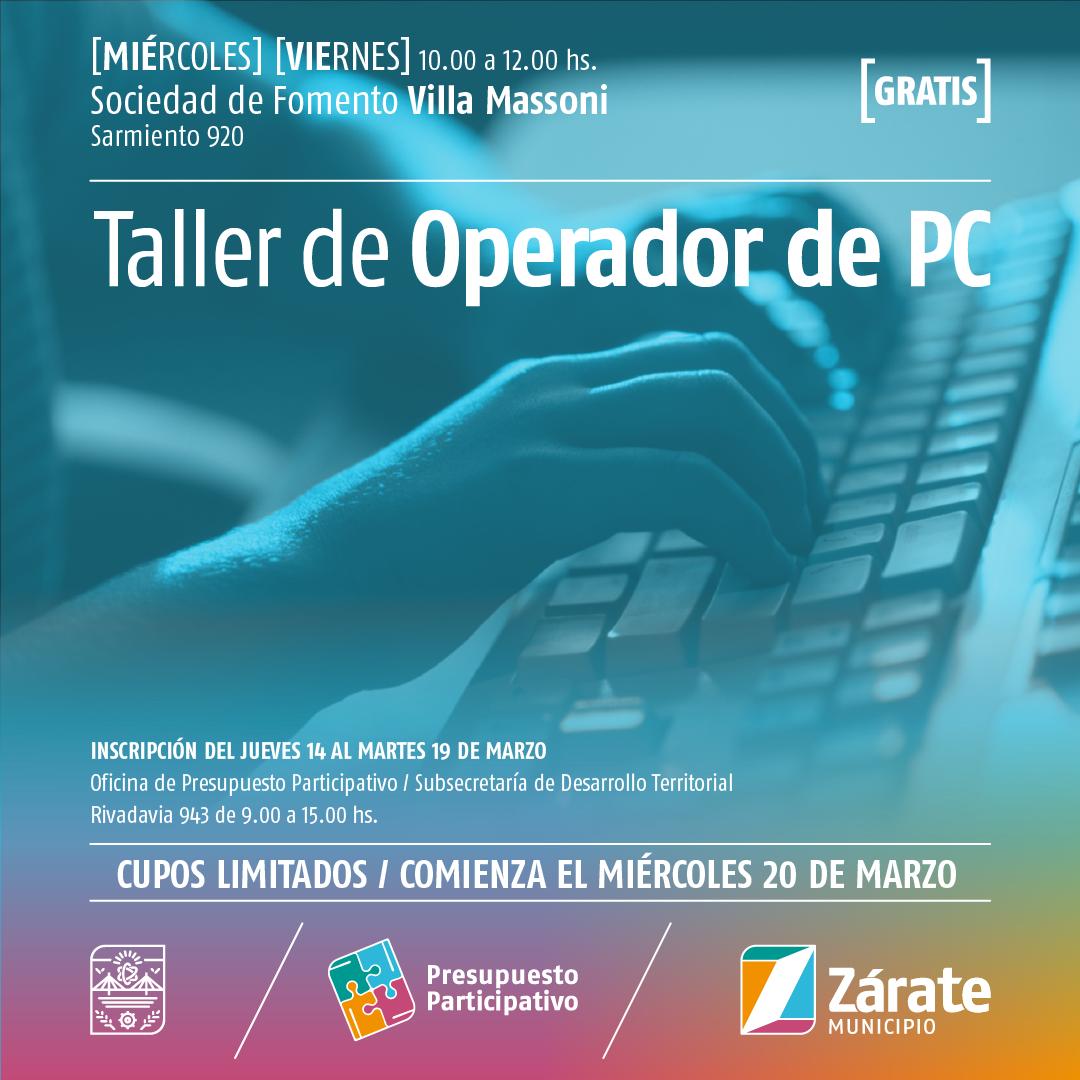 Comienza el Taller de Operador de PC el próximo miércoles