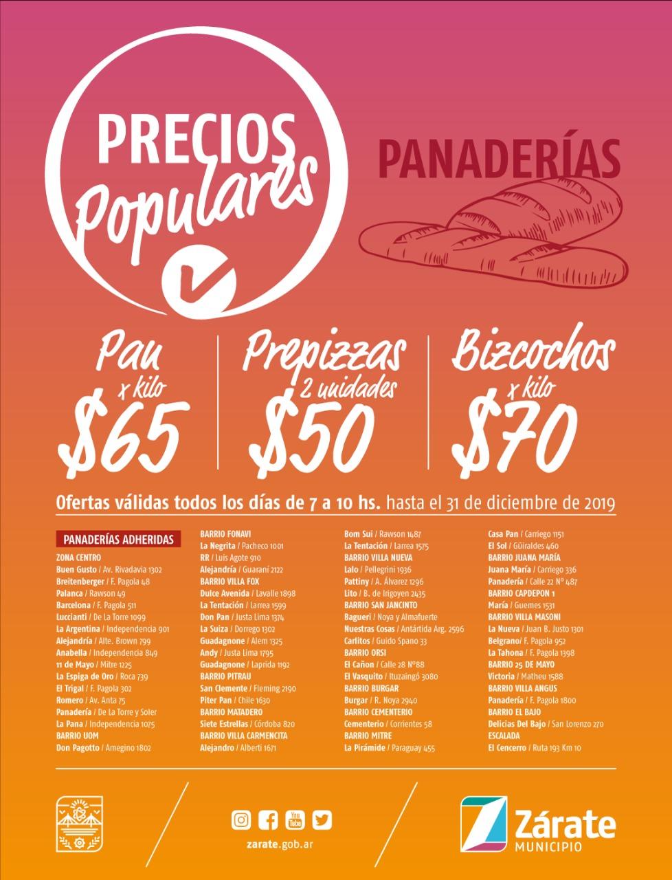 Nuevo listado de panaderías adheridas al programa Precios Populares