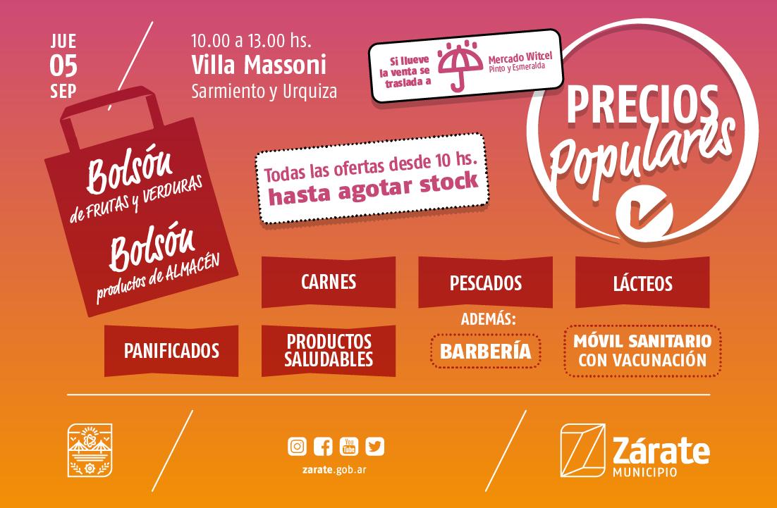 PreciosPopulares: el Programa estará el jueves en la plaza de Villa Massoni
