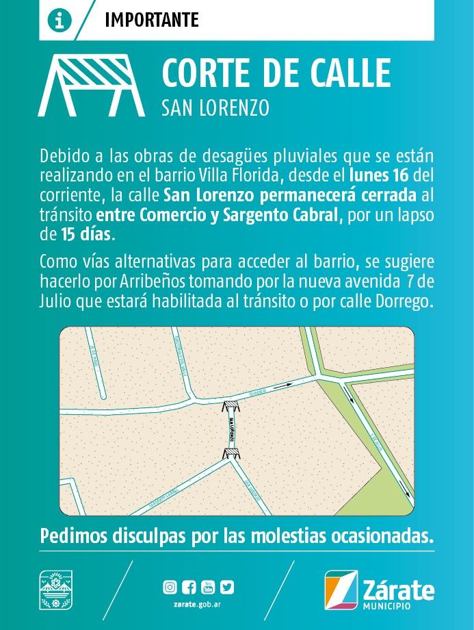 Por obra de desagües pluviales, San Lorenzo permanecerá cerrada 15 días