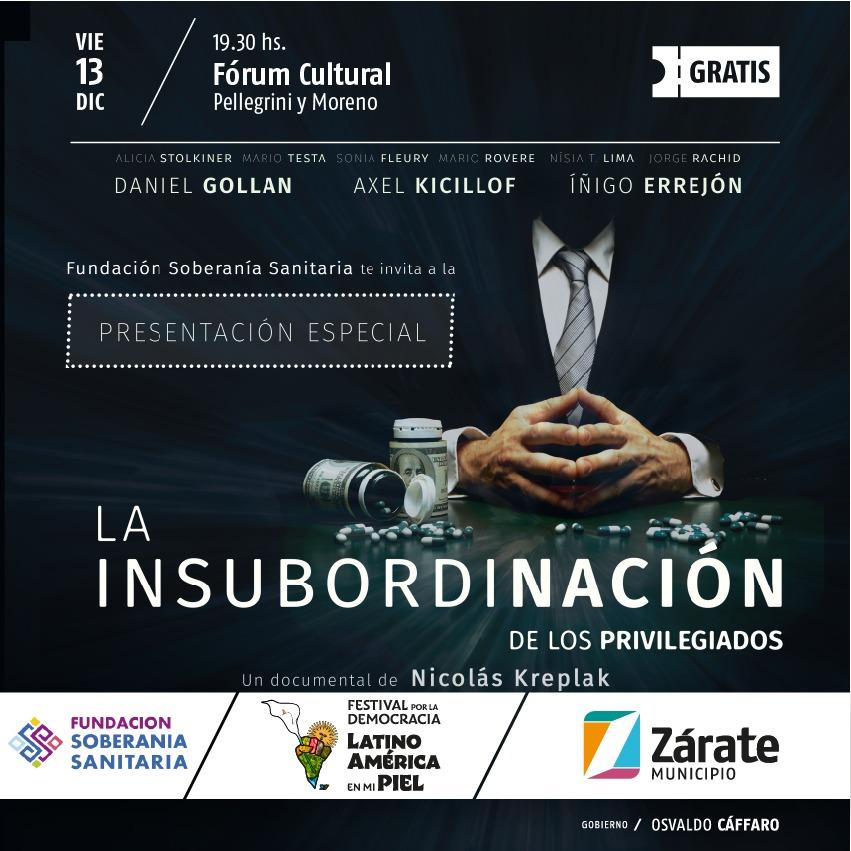 """Festival por la Democracia: se proyectará """"La insubordinación de los privilegiados"""" en el Forum Cultural"""