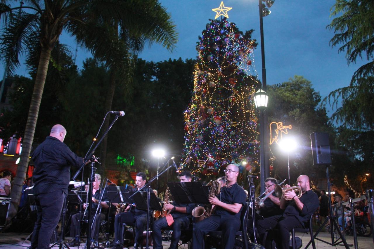 Se encendió el arbolito de navidad de la Plaza Mitre