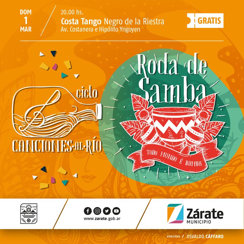 Continúa el Ciclo Canciones al Río: nueva edición de Roda de Samba