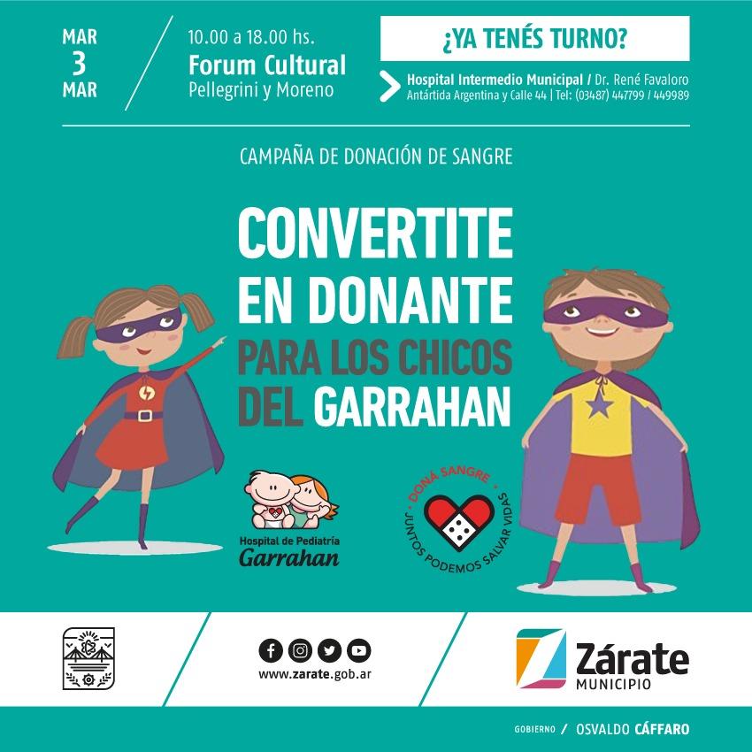 Secretaría de Salud Municipal realizará nueva campaña de donación de sangre para el Hospital Garrahan