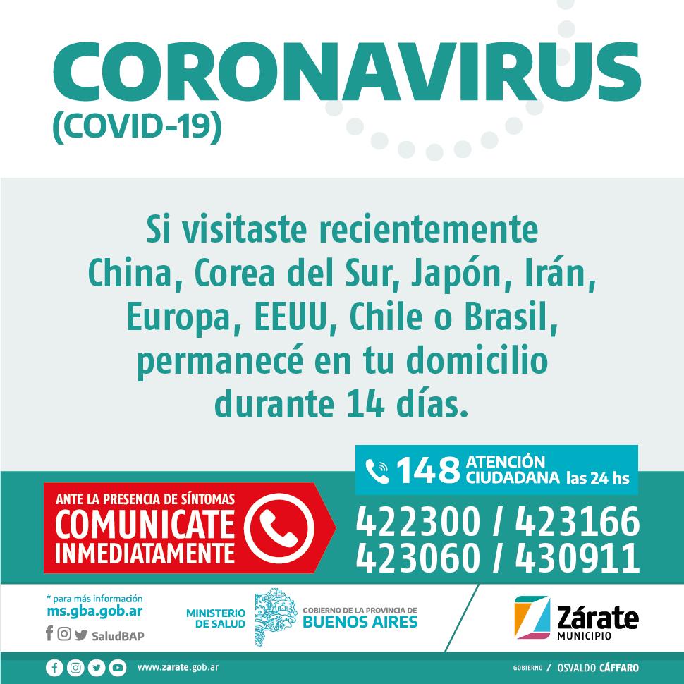 Zárate no tiene casos de coronavirus confirmados y continúa con las recomendaciones