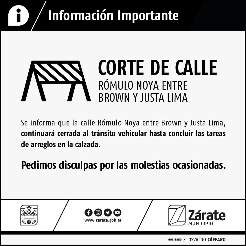 Por obras, permanecerá cerrada el tránsito en la calle Rómulo Noya