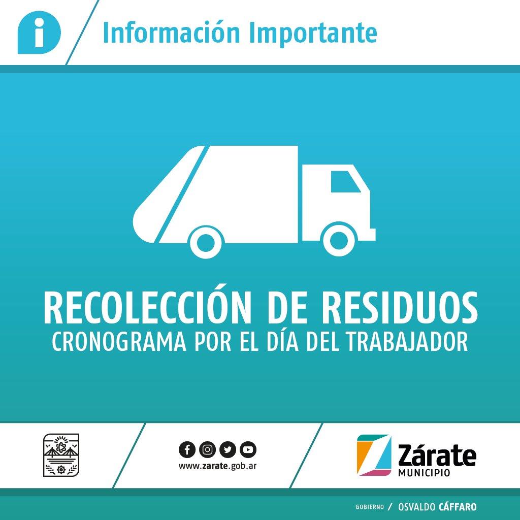 Cronograma de recolección de residuos por el Día del Trabajador