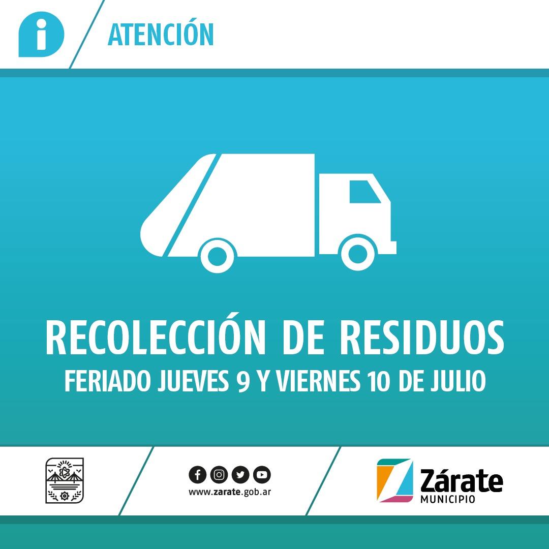 Cronograma de recolección de residuos por los feriados del 9 y 10 de Julio de 2020