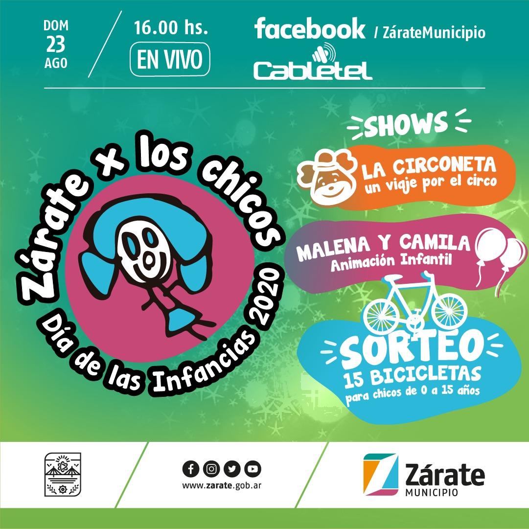 El Municipio de Zárate realizará este domingo una edición especial por la Semana de las Infancias que se transmitirá por Cabletel y redes sociales oficiales.