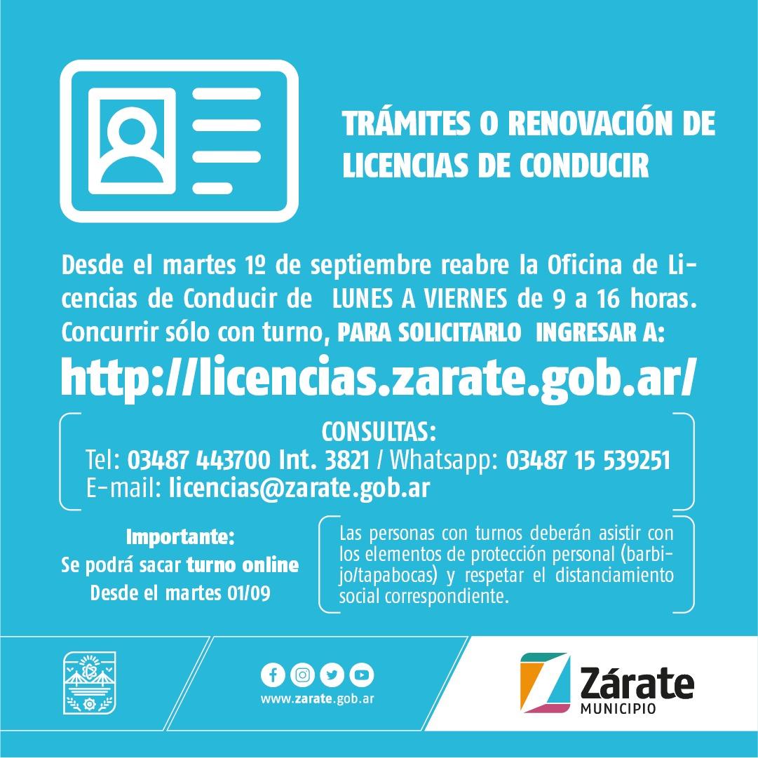 Desde el martes próximo se habilita la atención para tramitar o renovar las Licencias Nacionales de Conducir solo con turnos previos