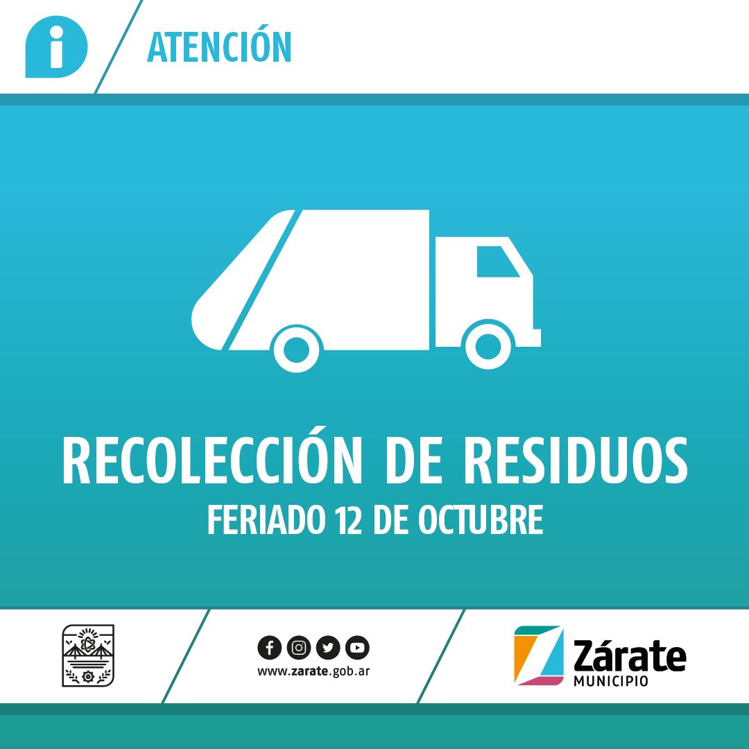 Cronograma de recolección de residuos por el feriado del lunes 12 de octubre