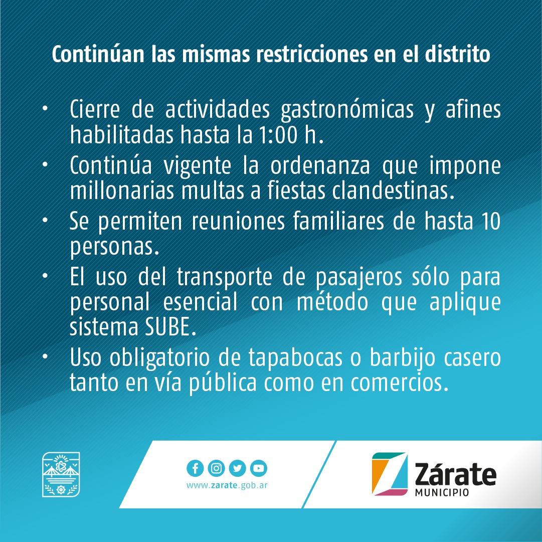Municipio informa que no hay cambios en nuestro distrito sobre las restricciones que estableció la Provincia