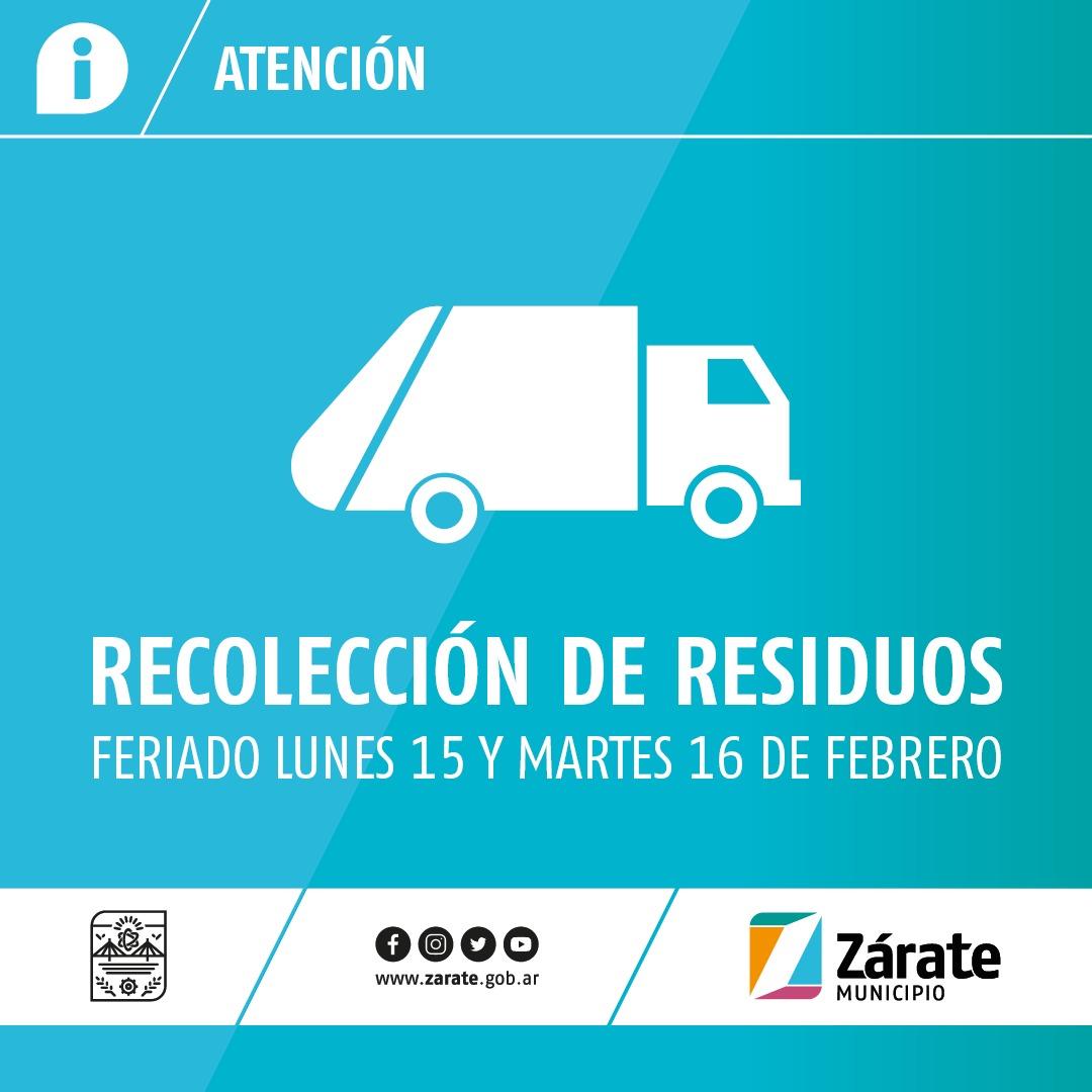 Cronograma de recolección de residuos por los feriados del 15 y 16 de Febrero de 2021
