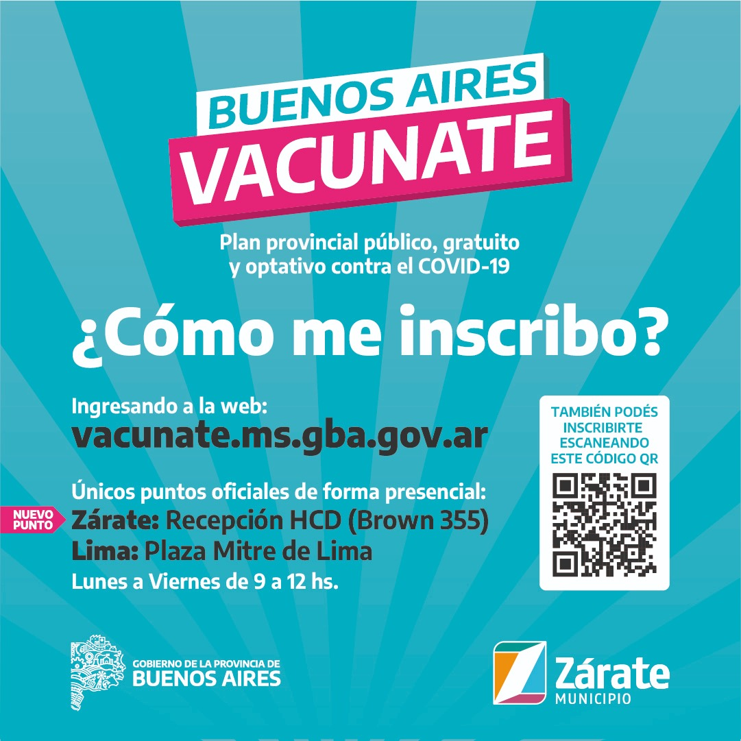 El Municipio recuerda a la población los únicos puntos oficiales para la inscripción al plan de vacunación