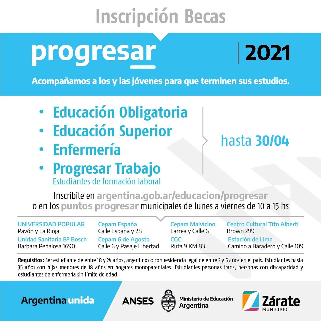Progresar 2021: Municipio informa que siguen activos los puntos de autogestión (asistencia de inscripción), para acceder a las becas del programa Nacional