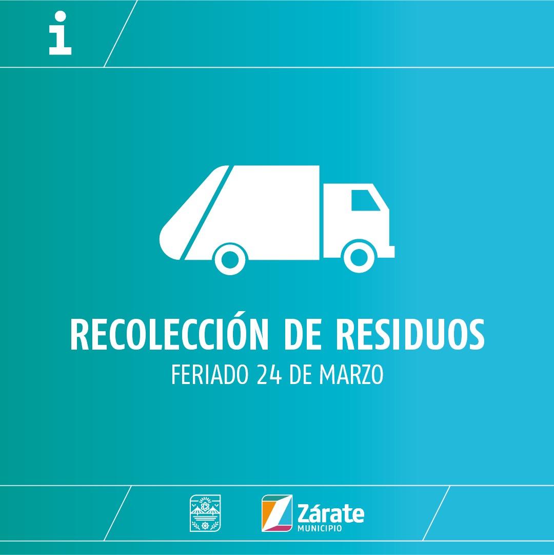 Cronograma de recolección de residuos por el feriado del 24 de marzo de 2021