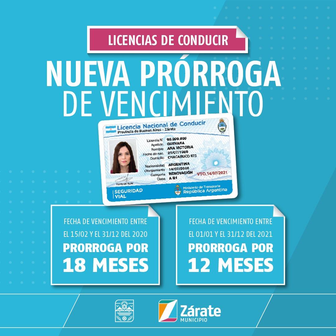Municipio informa que se extiende la postergación de los vencimientos de las Licencias Nacionales de Conducir en Zárate hasta el 31 de diciembre de 2021
