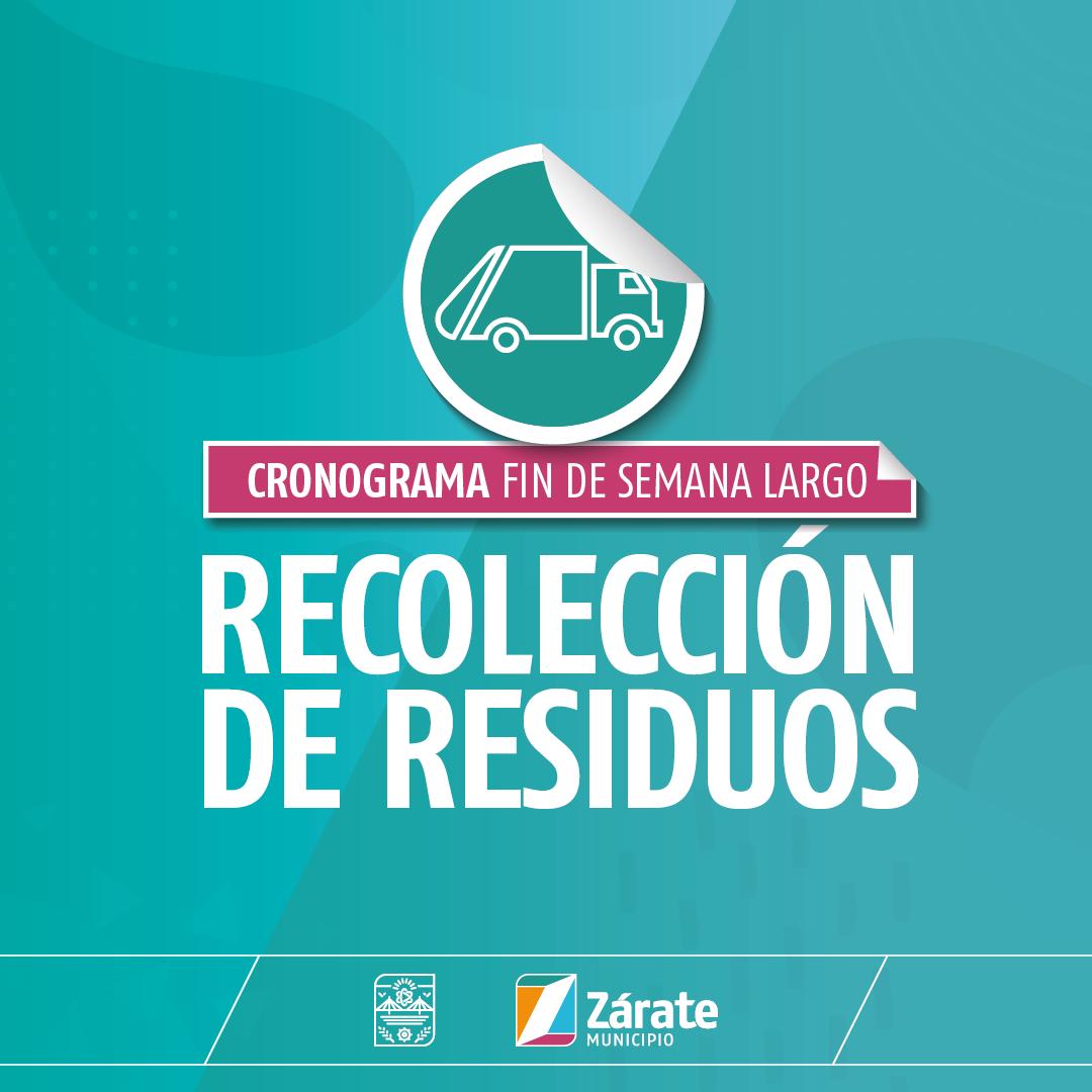 Cronograma de recolección de residuos por el feriado del fin de semana largo